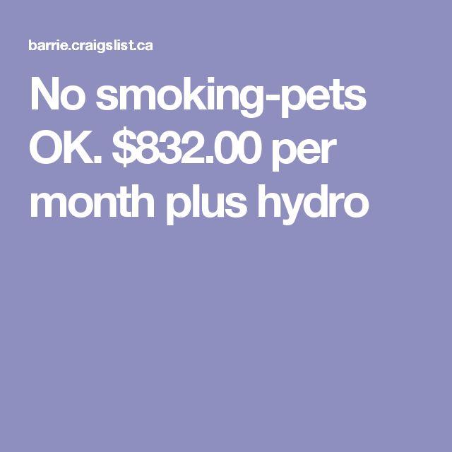 No smoking-pets OK. $832.00 per month plus hydro