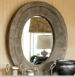 Image On Reclaimed Wood Oval Mirror