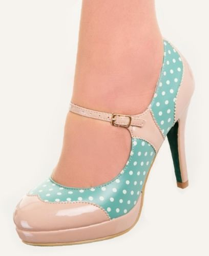 MARY-JANE-Shoes-by-Banned-POLKA-DOT-50s-Rockabilly-Heels-BEIGE-MINT-GREEN-6-7-8