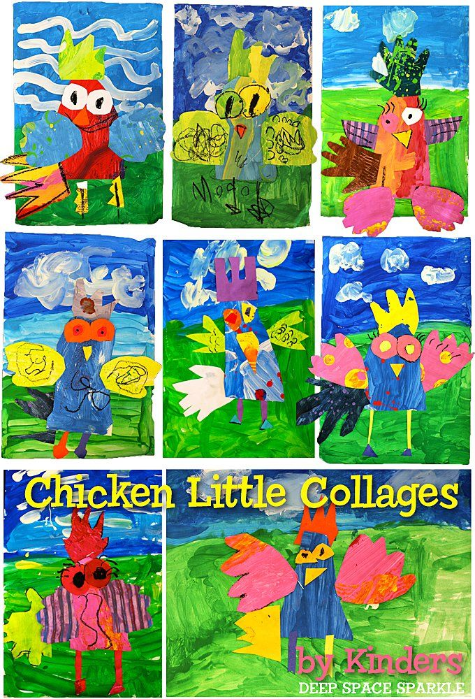Collage art and craft project for kids based on the book, Chicken Little. Art & Literature art projects by Deep Space Sparkle