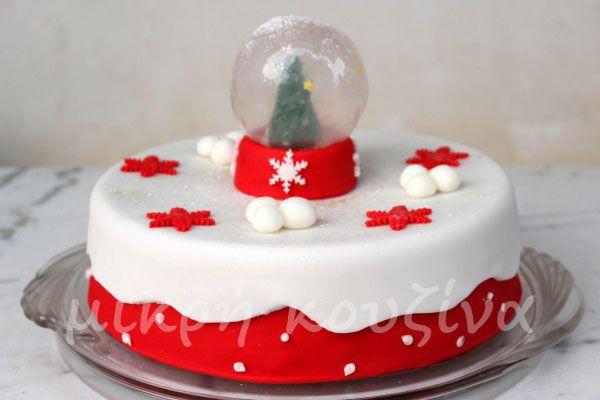 Χιονόσφαιρα με ζελατίνη για διακόσμηση βασιλόπιτας