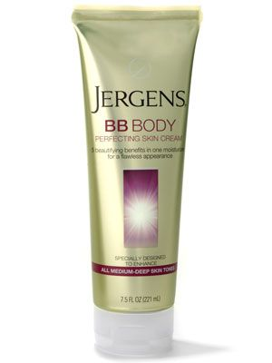 Jergens BB Body Perfecting Skin Cream is a sheer, tinted body lotion that smells like suntan oil and won't rub off....