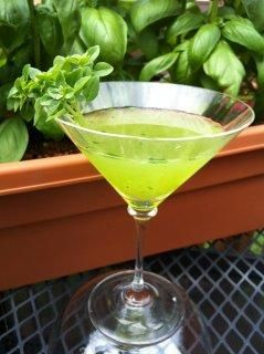 """Muddled Basil Martini from Food.com: I've been searching for the perfect summer basil martini. I think I found it on the """"B*tches on a Budget"""" website! Slight variation using agave nectar instead of simple syrup. I had to substitute ounces for """"jiggers"""" as called for in the original recipe -- original verbage included in directions."""