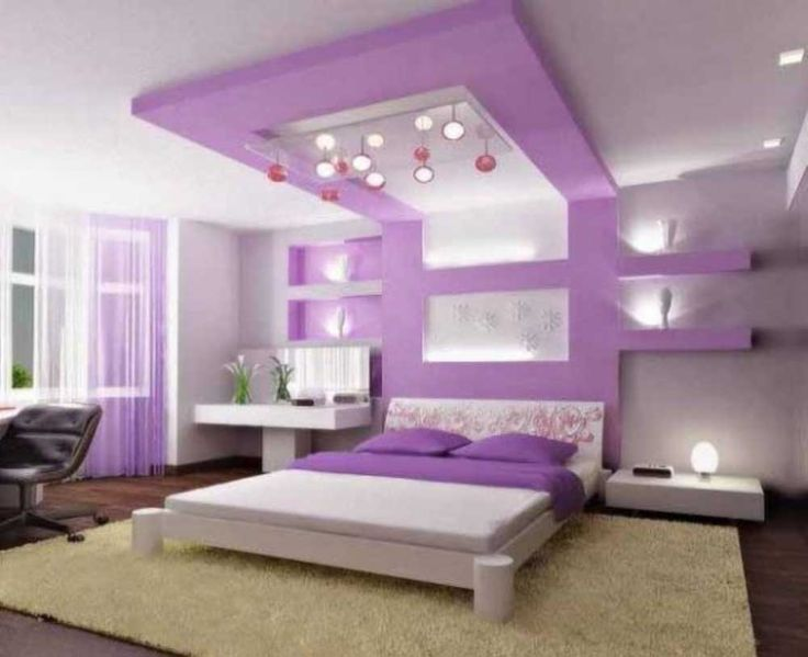 Simple Interior Design for The Bedroom For Girls with purple bedroom interior design for girls plus white lighting and black swivel chair
