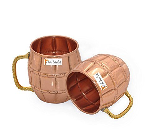 Set of 2  Prisha India Craft Solid Copper Moscow Mule Mug 550 ML  18 oz 100 Copper Lacquered Finish Best Quality Mule Cup Moscow Mule Cocktail Cup Copper Mugs Cocktail Mugs * You can find out more details at the link of the image.