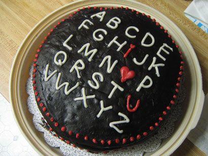 I <3 U Alphabet Cake - want to do alphabet cake - can get predone alphabet or do each letter on cupcake