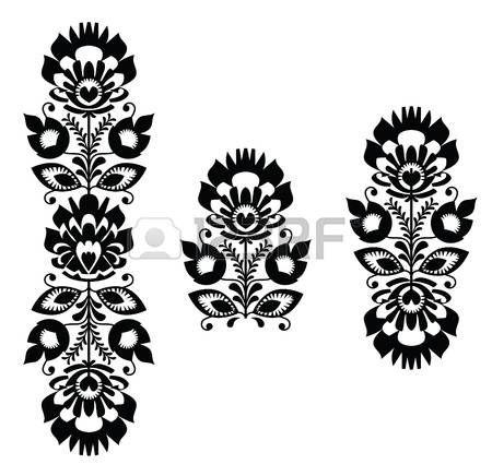 Bordado popular - patr�n floral tradicional polaca en blanco y negro photo