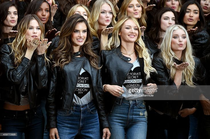 Victoria's Secret models Behati Prinsloo, Alessandra Ambrosio, Candice Swanepoel and Elsa Hosk attend the 2014 Victoria's Secret Fashion Show - Bond Street Media Event on December 1, 2014 in London, United Kingdom.