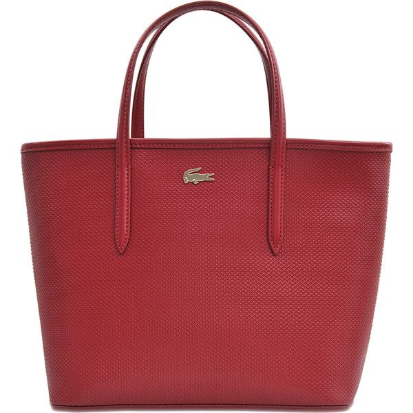 Lacoste Chantaco Small Shopping Tote (3,870 MXN) ❤ liked on Polyvore featuring bags, handbags, tote bags, red, lacoste handbags, zippered tote, zippered tote bag, red handbags and lacoste tote