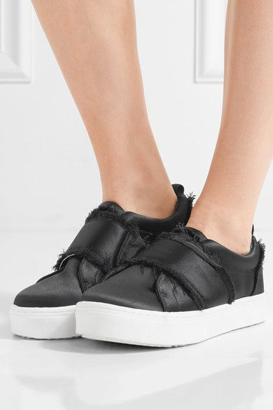 Sam Edelman - Levine Frayed Satin Slip-on Sneakers - Black