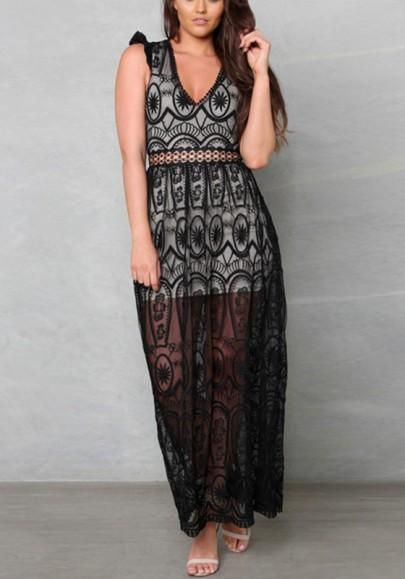 8f0f2db172 Black Patchwork Backless Hollow-out Lace Double-deck V-neck Maxi Dress