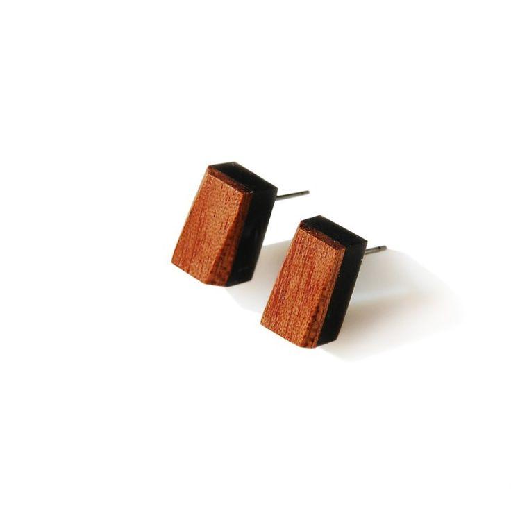 kolczyki prostokąty z drewnem Monopolka / earings with wooden finish - polscy projektanci / polish fashion designers - ELSKA