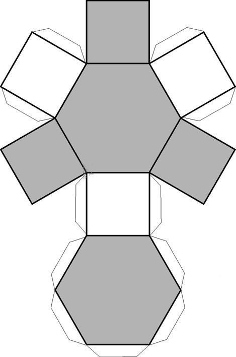 Dibujo recortable hexagonal, figuras geométricas