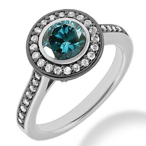 153 ct bisel conjunto azul Halo Anillo Solitarios por JewelryPoint