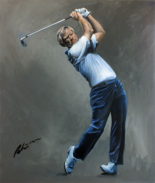Jack Nicklaus by Mark Robinson. Painted in 2013 for the NGCC, Help for Heroes Charity. Donated by Mark. Signed by Mr Nicklaus #jacknicklaus #nicklaus #markrobinson #dubai #golfart #golfimages Note: If you would like Mark to paint or exhibit at your Golf Tournament please contact us with your requirements. www.robinsongolfart.com