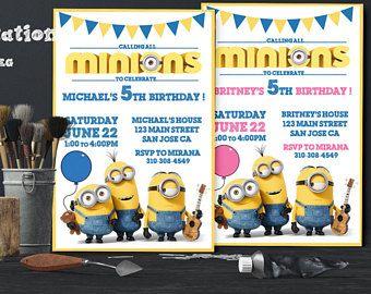 Esbirros invitación Minion cumpleaños invitación imprimible invita a Minion invitación temática secuaces cumpleaños fiesta Digital invita a cumpleaños de niños