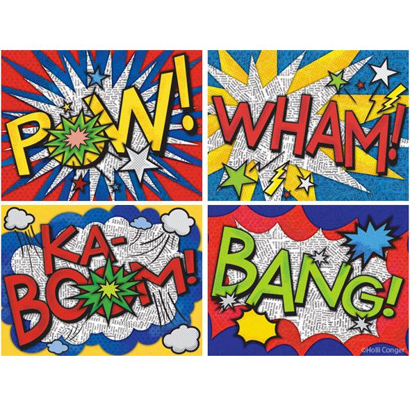 onomatopoeia visuals.  We made these in class.  Kids loved it! - saw these done with school rules : Respect ; Attentive listening etc