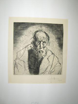 SEPP FRANK *. . ORIGINAL ETSNING :. U porträtt Halfbust Gubbe med skägg (front) - Undertecknad lägre höger i blyerts u numer: München, verkstad d artist, omkring 1920..?. Gott skick, undertecknandet av författaren -. Antiquariat am Ungererbad-Wilfrid Robin