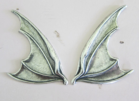 NEW Silver Bat Wing Findings 2961. $6.50, via Etsy.