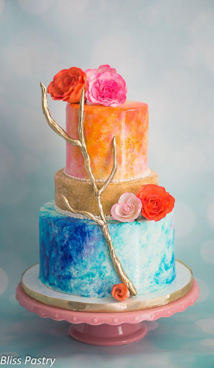 Watercolor Wedding Cake  Watercolor Wedding Cake Watercolor wedding cake inspired by the invitations  #watercolor #painting #cake-hand-painted #cakecentral