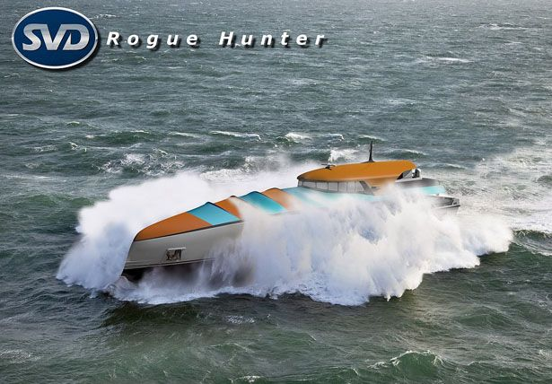 Rogue Hunter Explorer Ship Concept to Study Rogue Waves    Rogue Hunter explorer ship has been especially designed to hunt and study rogue waves that threat many ships at the sea. Personally, the designer believes that one day, someone will have to go for real measurements at sea during storms to validate the theory around rogue waves or freak waves. For that purpose, we're going to need a special custom made ship which is able to handle the task and come back safely.