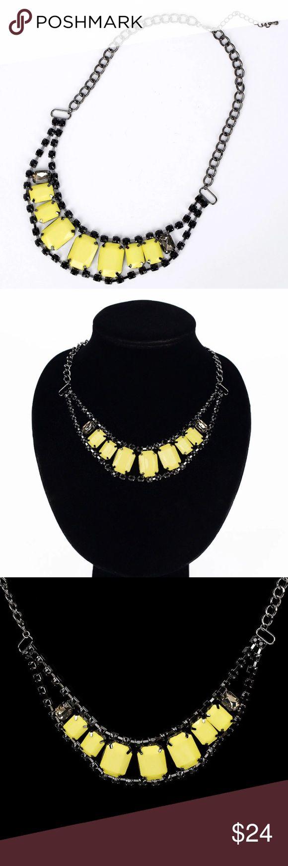 Yellow and black rhinestone collar necklace Neon yellow and black statement collar adjustable rhinestone necklace. Jewelry Necklaces