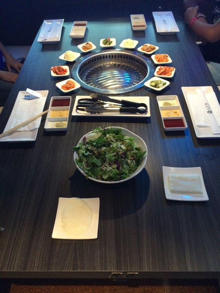 Gen Korean BBQ House - Elegant table setting delicious sides and salad - Torrance, CA, United States