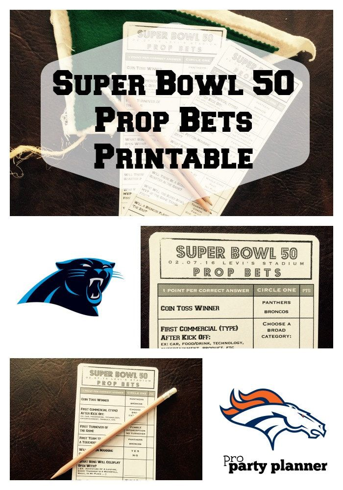 SUPER BOWL 50 Party Game Printable  // Super Bowl Prop Bets by proPartyPlanner // Printable Prop Bet cards for Super Bowl 50, between the Carolina Panthers and the Denver Broncos. Our game covers unique aspects of the game from the coin toss result, Super Bowl commercials, and half time show.