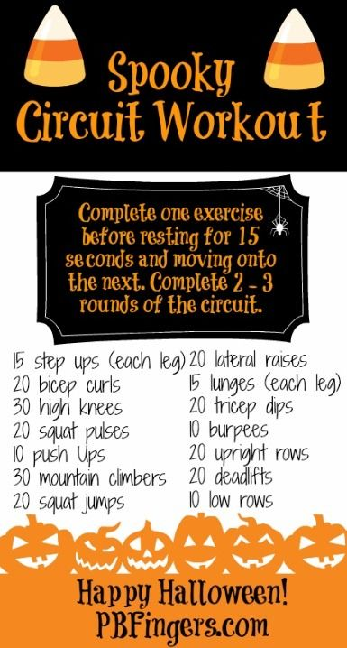 Spooky Circuit Workout! Another great circuit workout that can be done at home with just hand weights.