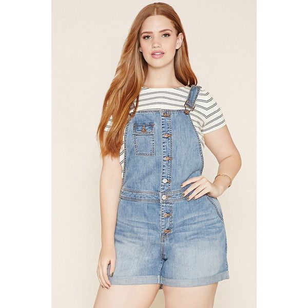 Forever 21 Plus Women's Plus Size Denim Overall Shorts ($30) ❤ liked on Polyvore featuring short overalls and forever 21