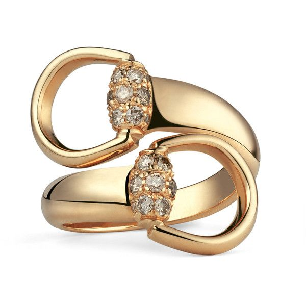 Beautiful Gucci Gold Ring With Brown Diamonds liked on Polyvore featuring jewelry