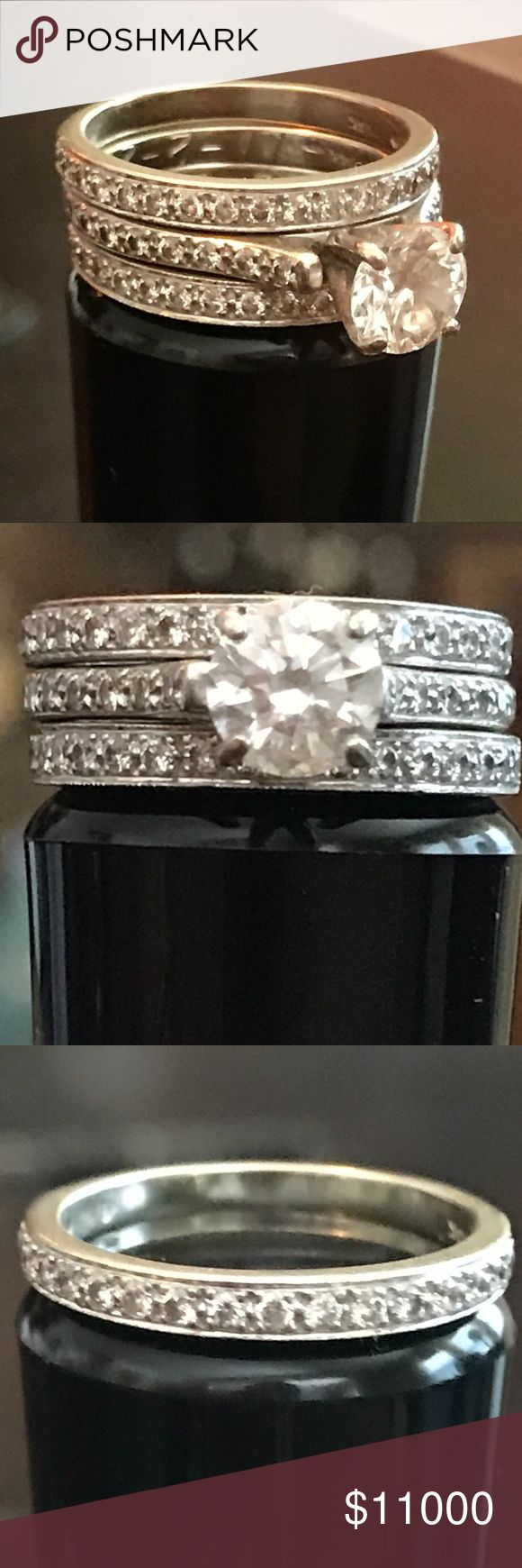 110% REAL DIAMOND Ring Set! Appraisal Guaranteed! Engagement Ring round cut 0.94 carat diamond & 16 brilliant cut natural diamonds = 0.20 carats. For total ring weight of 1.14 Carats.  14K White Gold Color is I, clarity SI-1 GIA attached.  Finish brilliant. Engagement ring is engraved with date 11-2-2007.  very good condition! Wedding bands consist of 20 brilliant cut natural diamonds totalling 0.24 carats per ring. Color G-H, Claritity VS2-VS1. one ring engraved with 1-3-2009. Guarranteed…