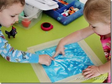 Finger paint in ziplock bags taped to table. Try other stuff - hair gel, etc.Child Development, Crafts For Kids, White Sheet, Plastic Bags, Fingers Painting, Kids Crafts, Mess Fre Art, Sensory Art, Mess Free