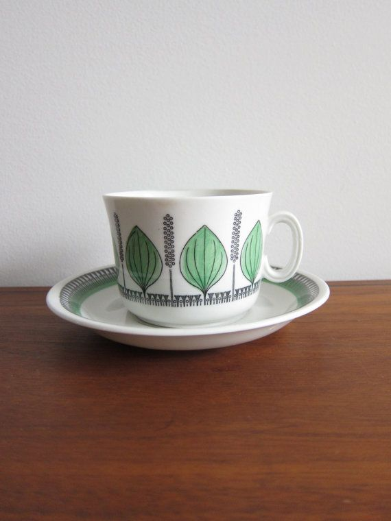 Upsala Ekeby Gefle Groblad Cup and Saucer Mid-Century Sweden in Green