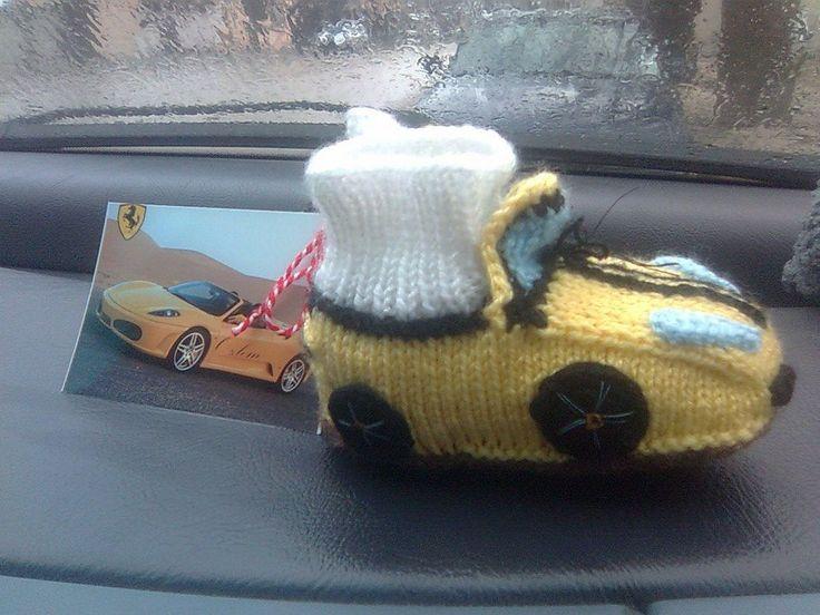 Yellow Ferrari baby boots knitti g, amigurumi Бебешки терлици кола Ферари, плетени, плетиво Ferari araba bebek terlikleri, örgü