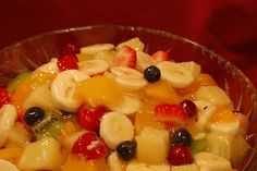 Fruit Salad with secret ingredient glaze: 1~21oz can peach pie filling, 1~20oz drained pineapple chunks, 1~11oz can mandarin oranges drained, 1C blueberries 1C mini marshmallows, 2C bananas sliced, 2C strawberries. min & chill overnite or @ least 4hours