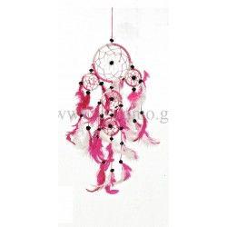 Διακοσμητική Ονειροπαγίδα Ρόζ Λευκή Στολισμού Γάμου ή Βάπτισης Φ9cm