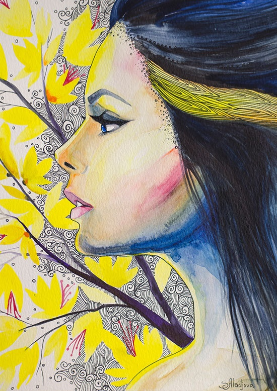 "Yellow girl watercolor painting print 8"" x 12"" Woman ..."