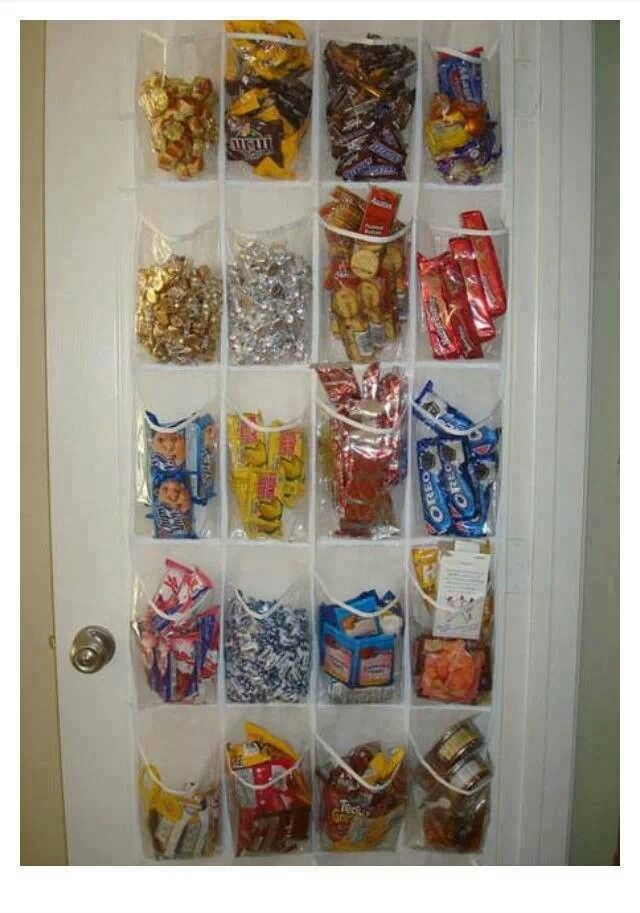 Use a shoe holder in your pantry for food storage or candy lo