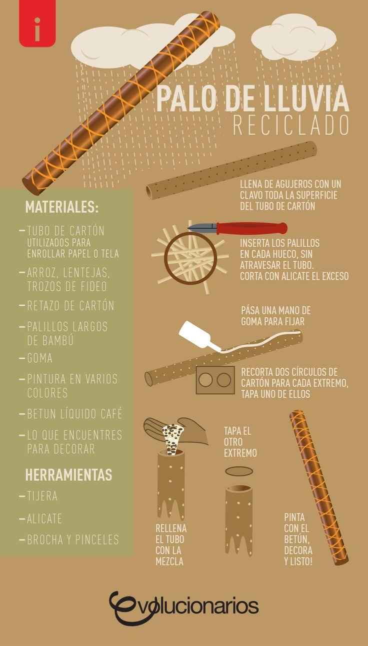 El palo de lluvia es un instrumento que al girarlo lentamente reproduce el sonido de la lluvia, utilizando un tubo de cartón puedes fácilmente fabricar uno.