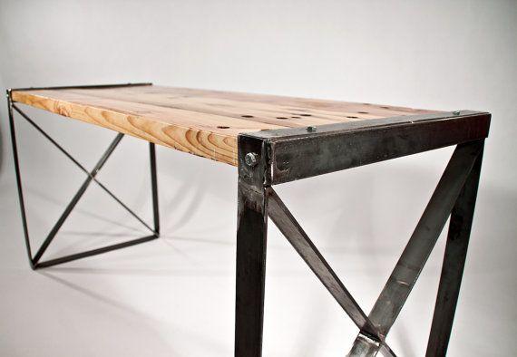 Office desk for basement reclaimed wood modern industrial desk by rockymountaintableco - Reclaimed wood office desk ...