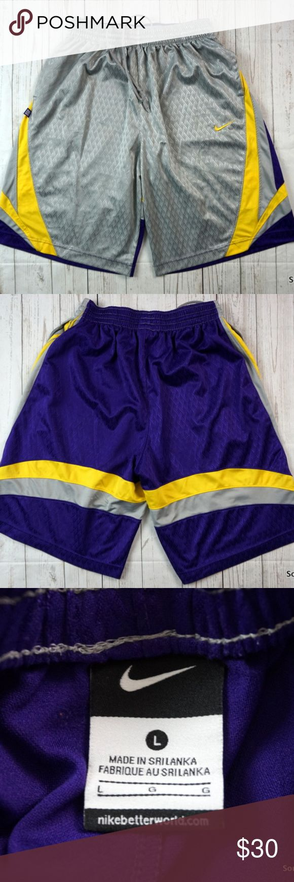 "Nike Basketball Shorts Silver Purple Yellow Kobe Brand: Nike Size: Men's Large Material: Polyester  Detailed Measurements: (Front Side of Garment has been measured laying flat on a table)  Waist:             26"" inches  (Elastic Stretch Drawstring Waist) Inseam:          12"" inches Length:           24"" inches  Ships in 1 business day or less from a clean and smoke free home. Nike Shorts Athletic"