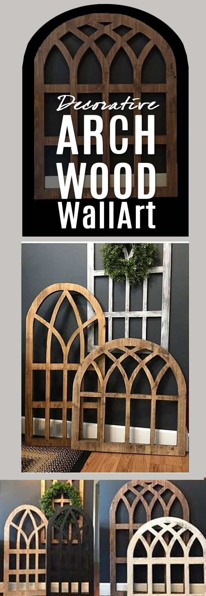 I love look of arched windows, reminiscent of of church stained glass windows, so I love these handmade from maple lumber. They add warmth and a sweet vintage feel to the home decor.   #Farmhouse #homedecor #wallart #handmade #etsy #ad