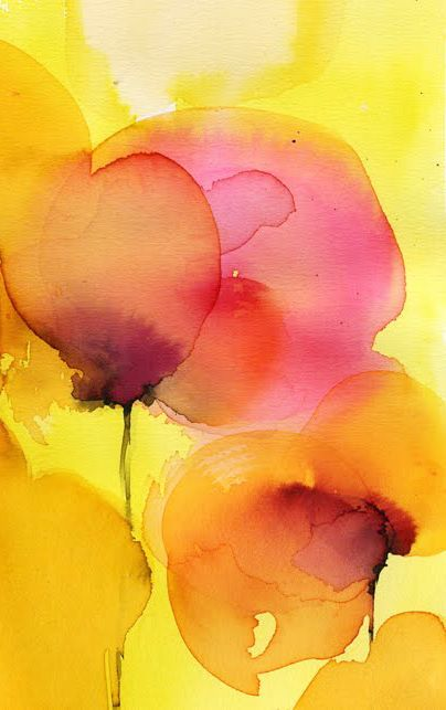 Yellow and pink watercolour                                                                                                                                                      Más