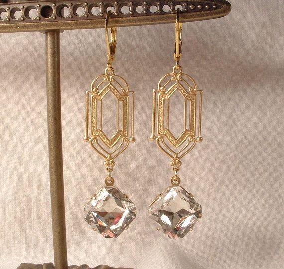 Vintage Art Deco Crystal Rhinestone Gold Plated Dangle Earrings Flapper Gatsby Downton Abbey Long Bridal Bridesmaids 1920s