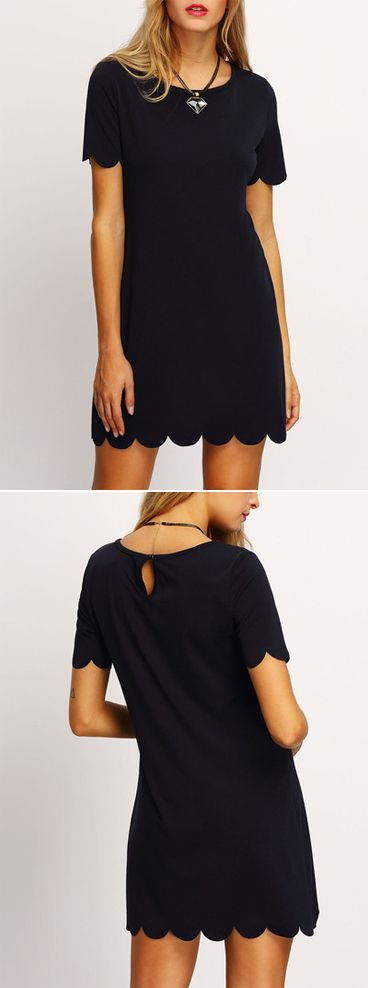 Take this black dress for day dress or occasion dress. The dress is so special for the scalloped hem & keyhole. Shift line for a casual style. Only US$15.99 for the Black Scalloped Hem Keyhole Dress.