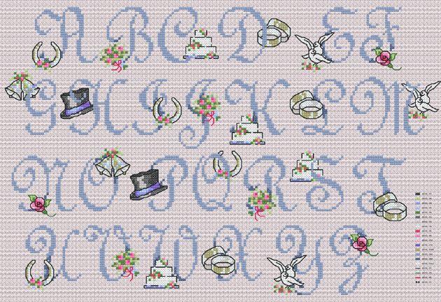 free wedding cross stitch patterns | Item: Romantic Wedding (Cross-stitch chart)