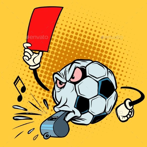 Red Card Referee Whistle Football Soccer Ball Retro Vector Illustration Football Soccer Soccer Ball