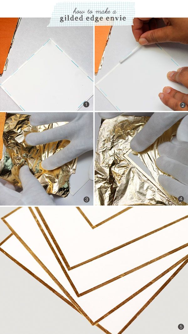 how to make a gilded edge envelope - Gold Bow Stationery | Damask Love Blog