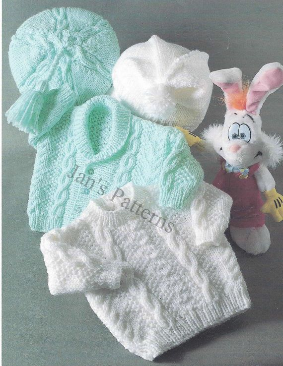 babies Aran cardigan sweater beret hat by knittingpatterns4you, £2.00